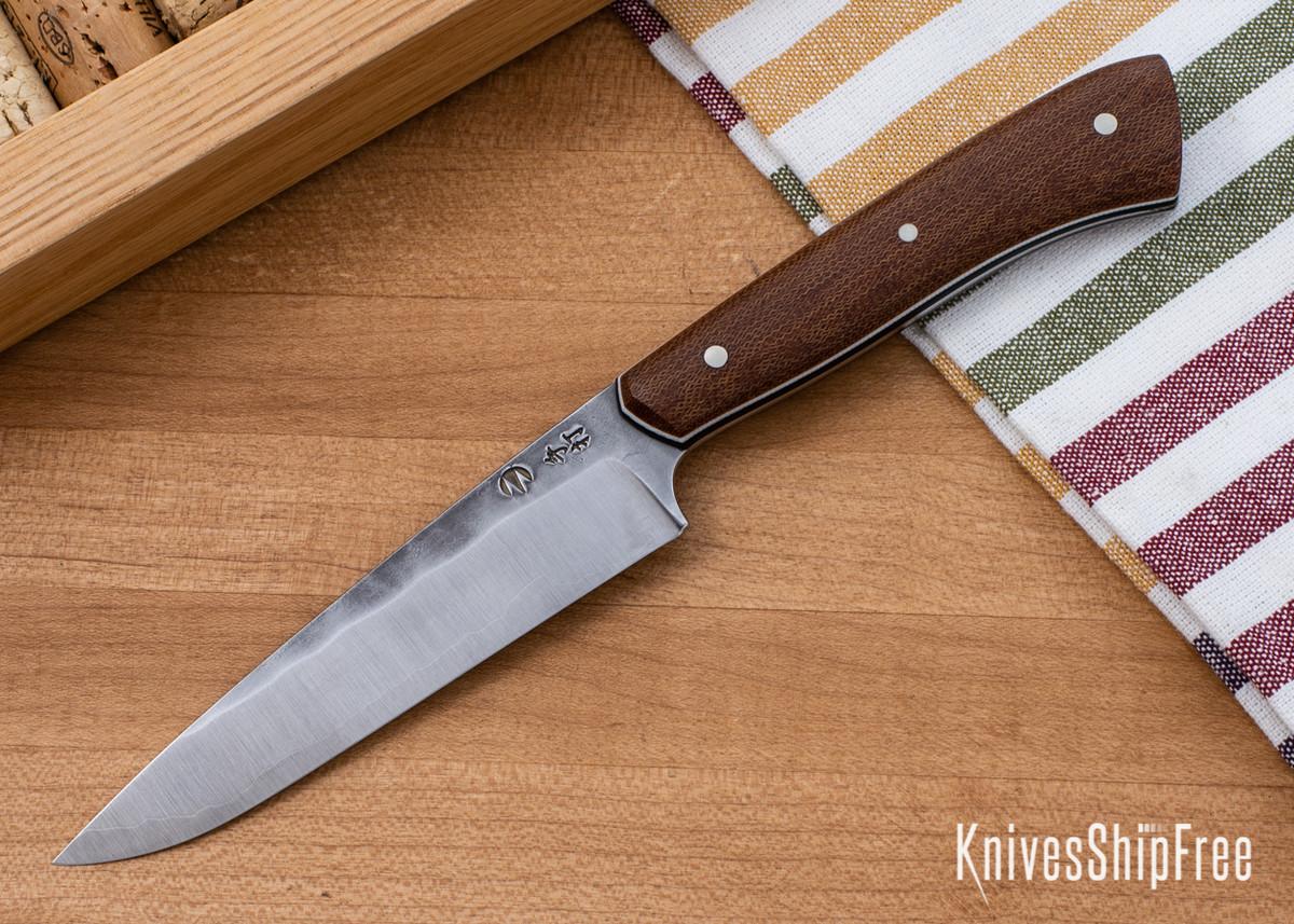 Carter Cutlery: Muteki - Paring Knife -  Natural Linen Micarta - White & Black Liners - CC05EG010 primary image