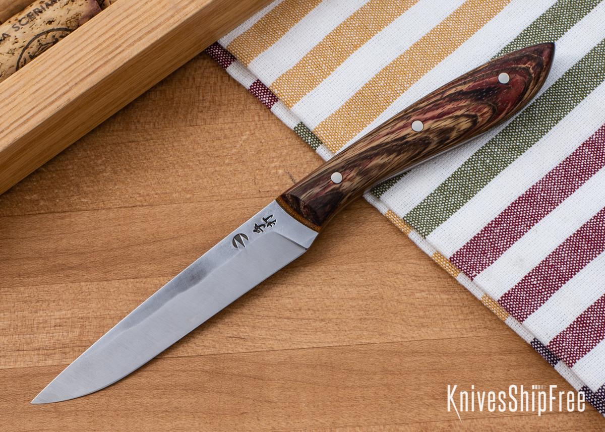 Carter Cutlery: Muteki - Paring Knife - Dyed Bocote - Natural Linen Micarta Liners - CC05EG011 primary image