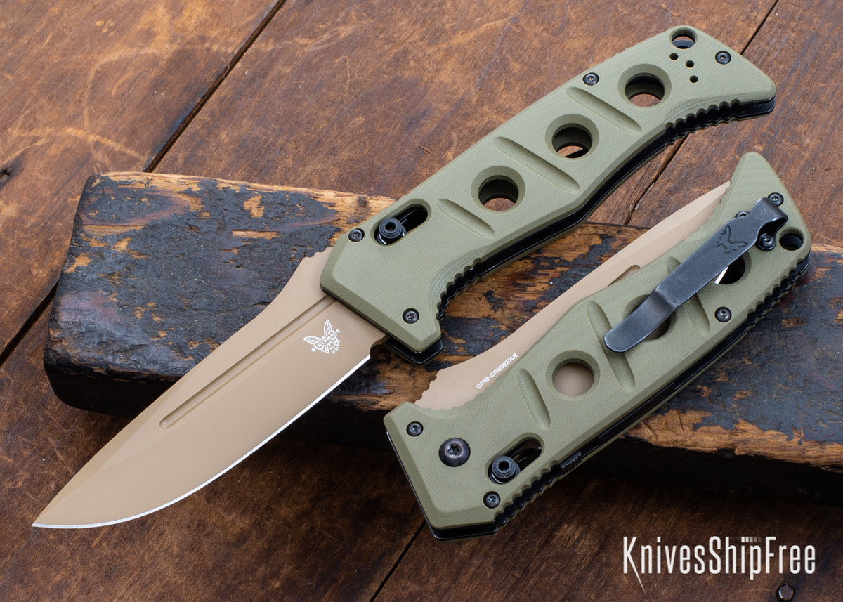 Benchmade Knives: 2750FE-2 Auto Adamas - Olive Drab G-10 - CPM CruWear - Flat Earth Cerakote primary image