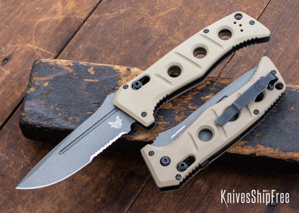 Benchmade Knives: 2750SGY-3 Auto Adamas - Sand G-10 - CPM CruWear - Tungsten Gray Cerakote - Partially Serrated primary image