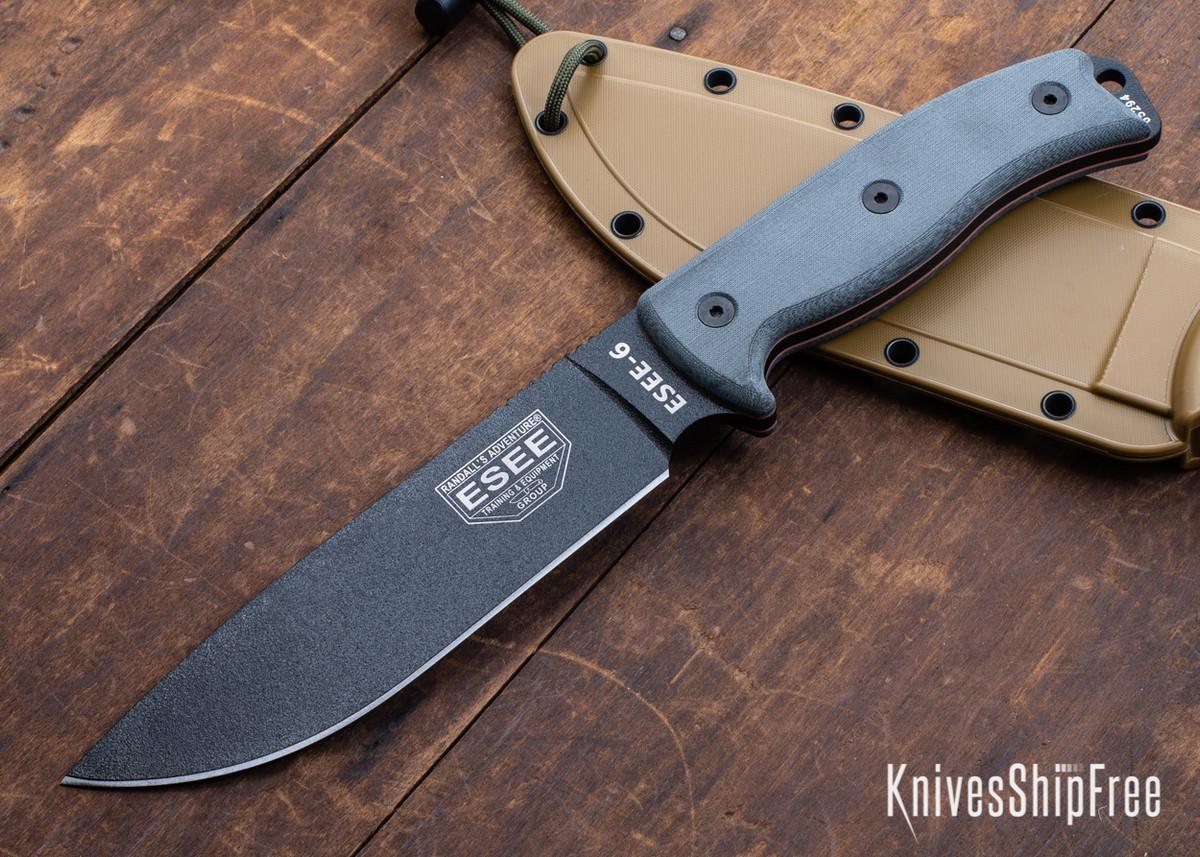 ESEE Knives: ESEE-6P - Black - Brown Sheath primary image