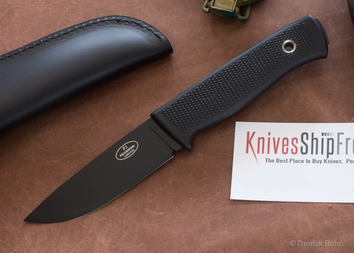 Fallkniven: F1 Swedish Military Survival Knife - VG-10 - Black Blade - Leather Sheath primary image