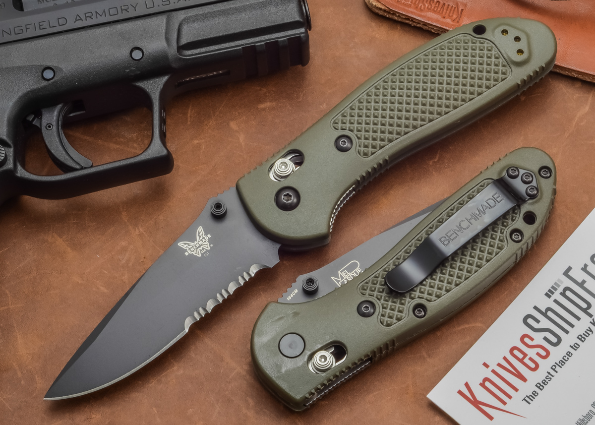 Benchmade Knives: 551SBKOD Griptilian - Olive Drab - Serrated - Black Blade primary image