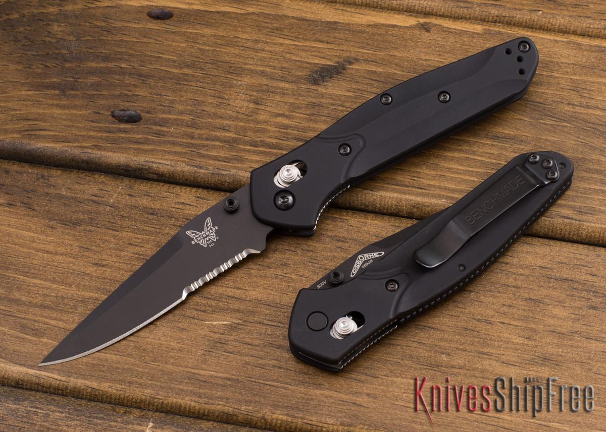Benchmade Knives: 943SBK Osborne - Black Aluminum - Black Serrated Blade primary image
