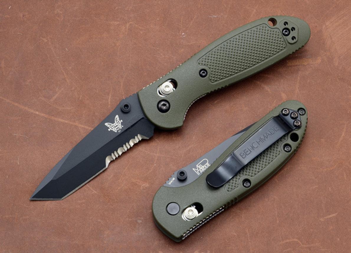 Benchmade Knives: 557SBKOD Mini-Griptilian - Tanto - Serrated Black Blade - Olive Drab primary image
