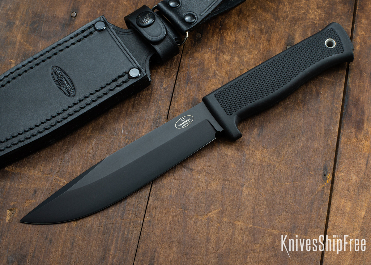 Fallkniven: A1 BL - Army Survival Knife - VG-10 - Black Blade - Leather Dangler Sheath primary image
