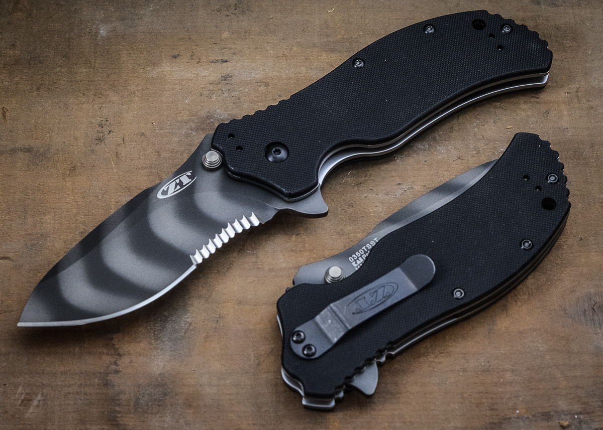 Zero Tolerance: 0350TSST - Black G-10 - Serrated - Tigerstriped primary image