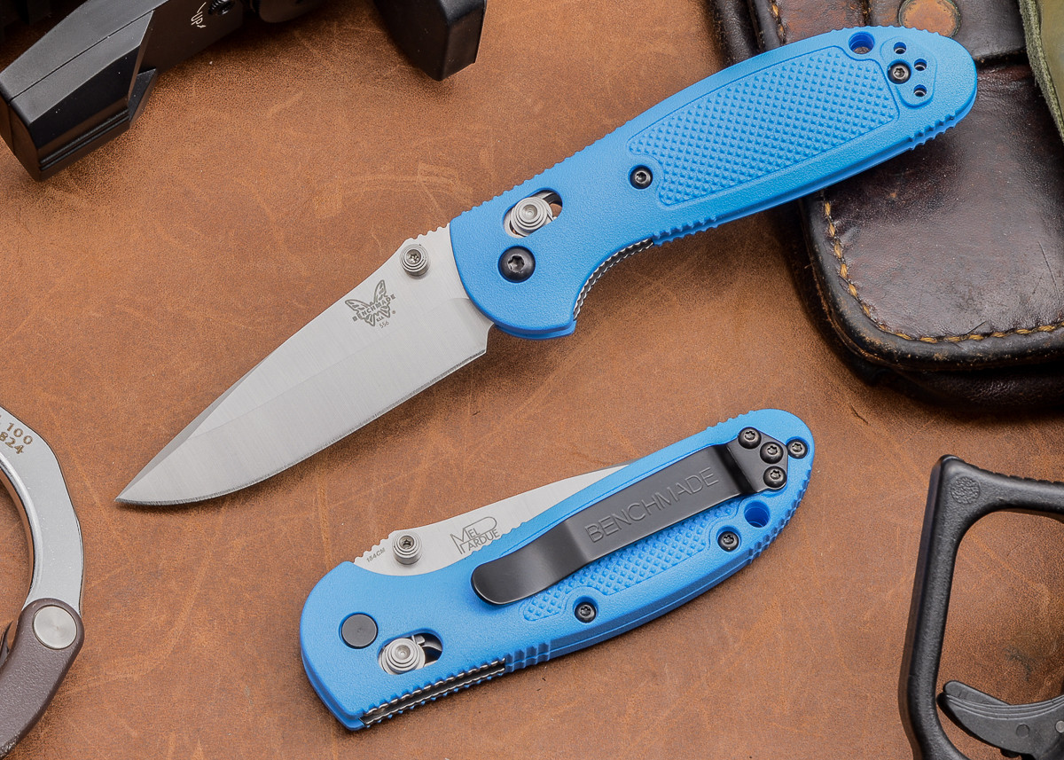 Benchmade Knives: 556-BLU Mini Griptilian - Blue Scales primary image