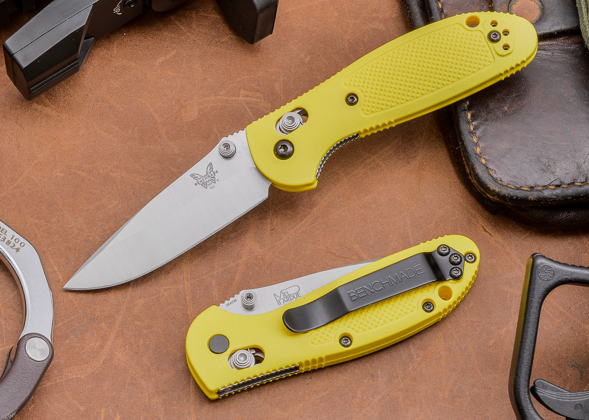 Benchmade Knives: 556-YEL Mini Griptilian - Yellow Scales primary image