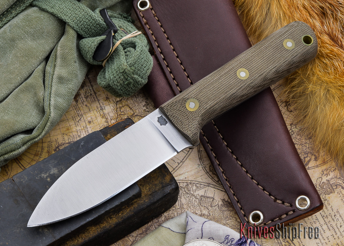 L.T. Wright Knives: Genesis - Bead Blasted Green Micarta - Flat Ground - A2 Steel