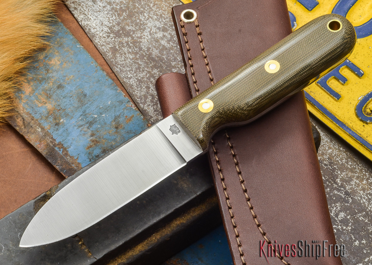 L.T. Wright Knives: Bushcrafter - Green Micarta - Flat Ground - A2 Steel primary image