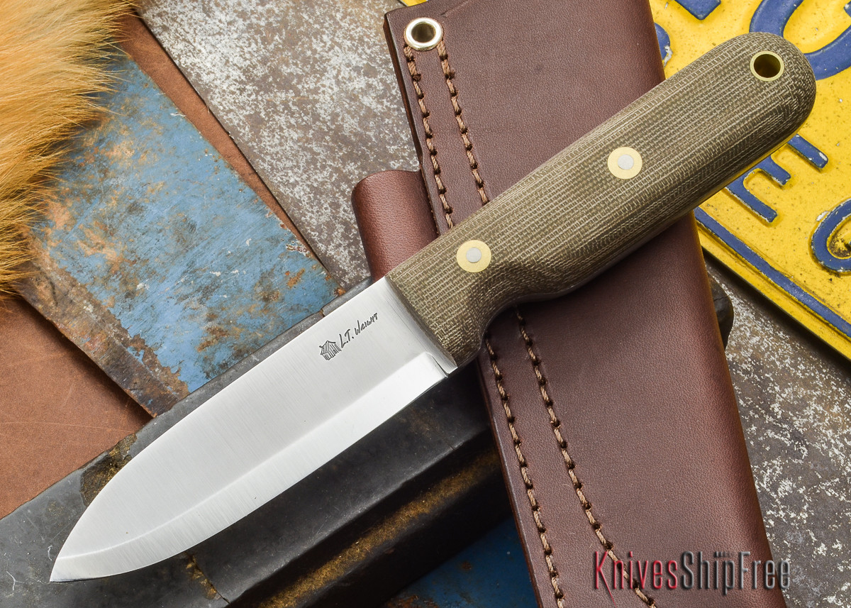L.T. Wright Knives: Bushcrafter - Green Canvas Micarta - Matte - Scandi Ground - A2 Steel primary image