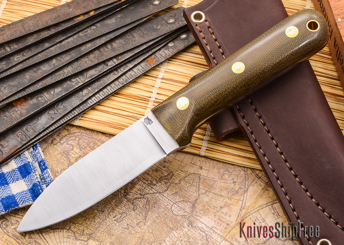 L.T. Wright Knives: Genesis - Green Micarta - Flat Ground - A2 Steel