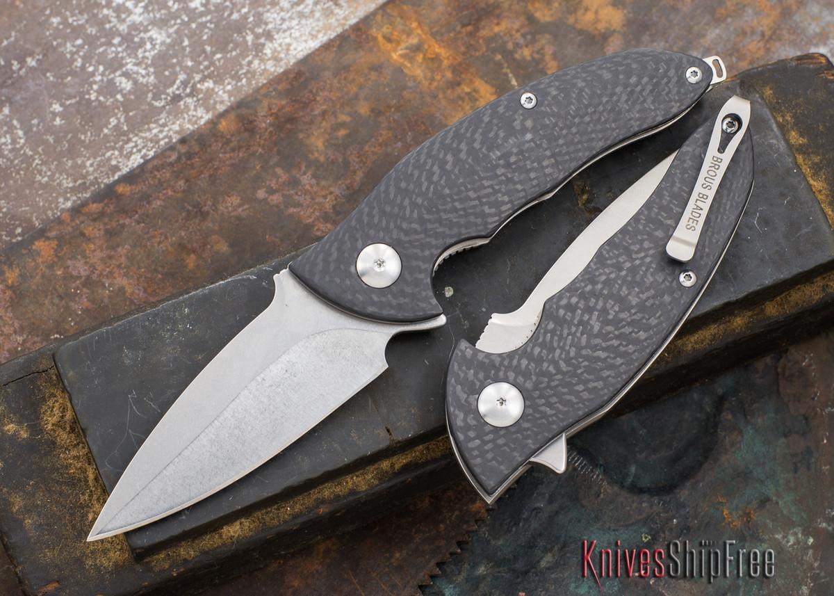 Brous Blades: Caliber - Carbon Fiber Handles - Stonewash Finish primary image