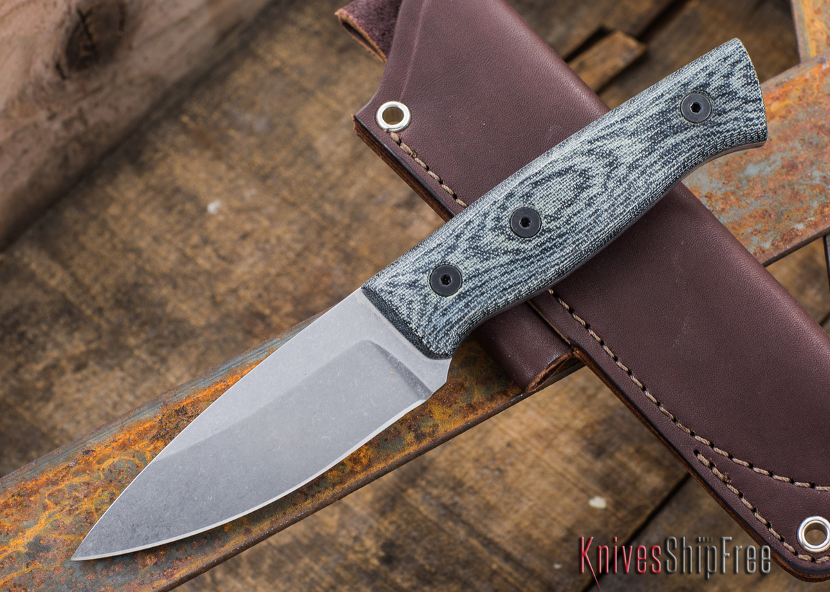 Fiddleback Forge: Production Bushfinger - Black Canvas Micarta - S35VN