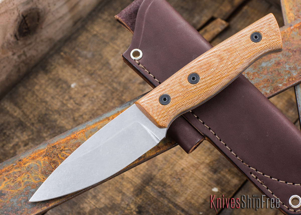 Fiddleback Forge: Production Bushfinger - Natural Canvas Micarta - S35VN