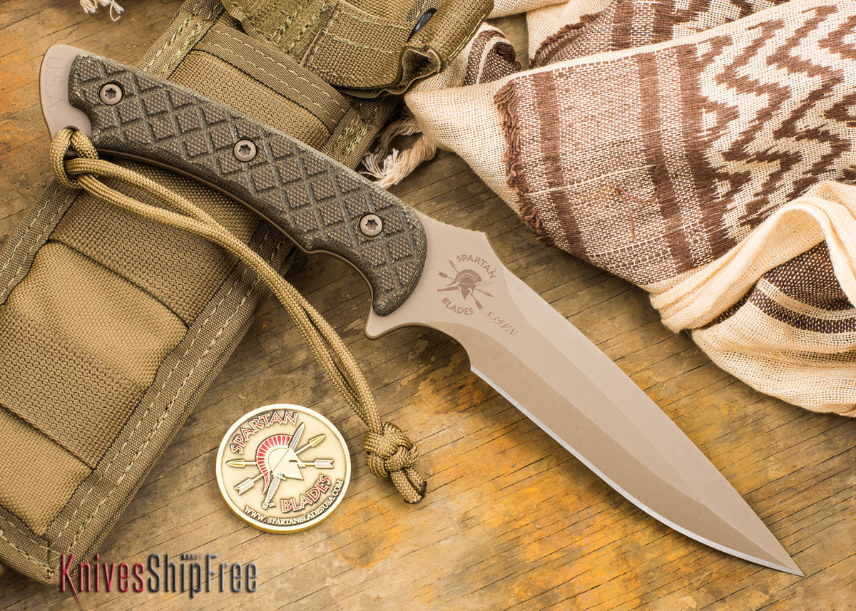 Spartan Blades: Ares - Flat Earth Blade - Green Canvas Micarta primary image