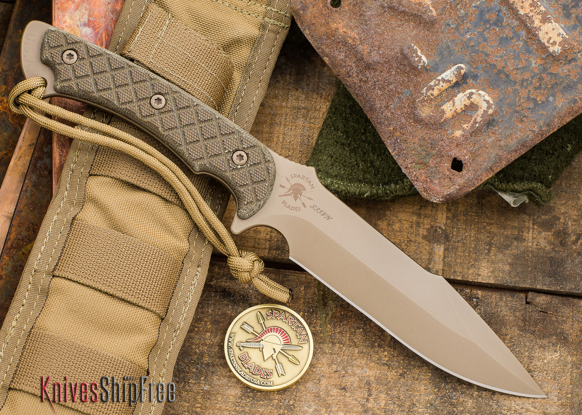 Spartan Blades: Horkos - Flat Earth Blade - Green Canvas Micarta