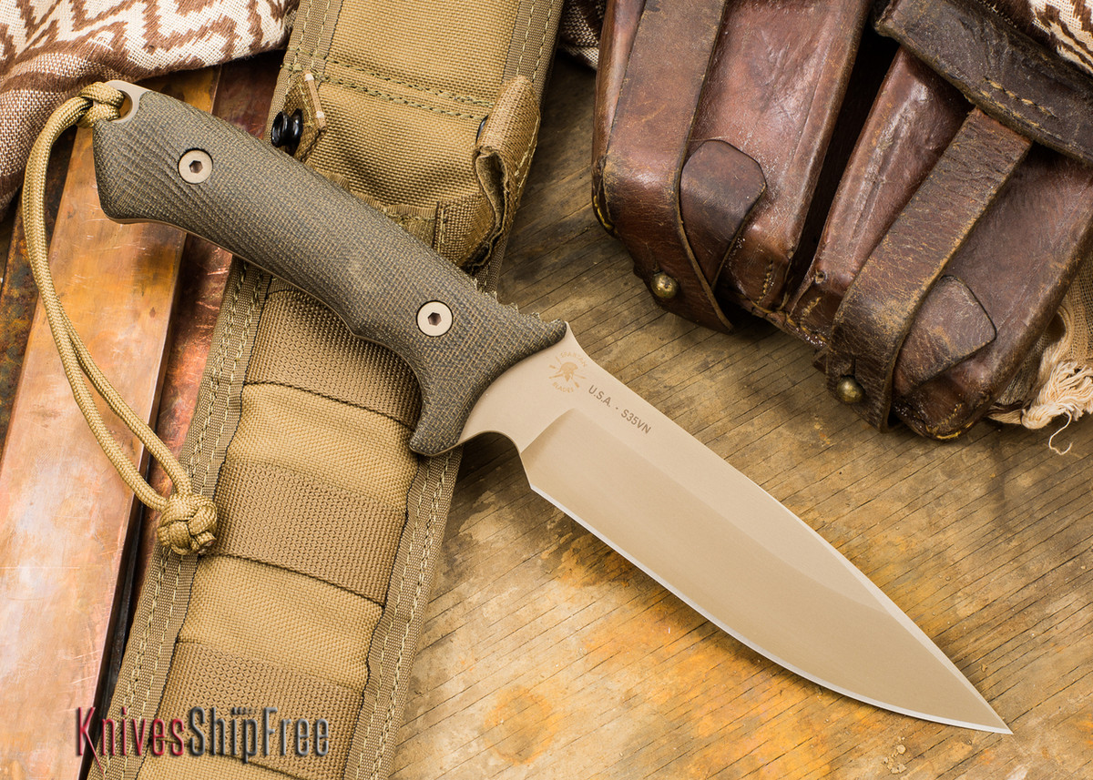 Spartan Blades: Harsey Difensa - Flat Earth Blade - Green Canvas Micarta primary image