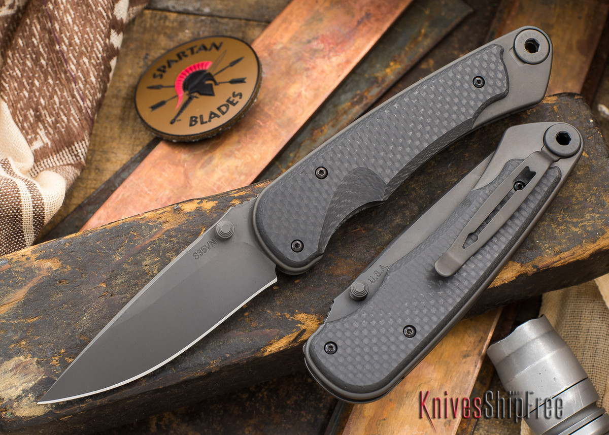 Spartan Blades: Akribis - Black Blade - Black Hardware - Carbon Fiber Handles primary image