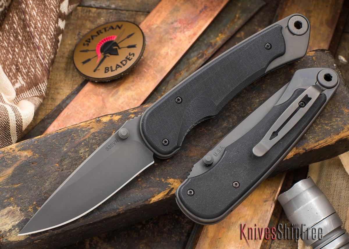 Spartan Blades: Akribis - Black Blade - Black Hardware - Black G-10 Handles primary image