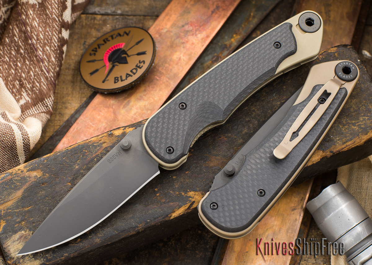 Spartan Blades: Akribis - Black Blade - Flat Earth Hardware - Carbon Fiber Handles primary image