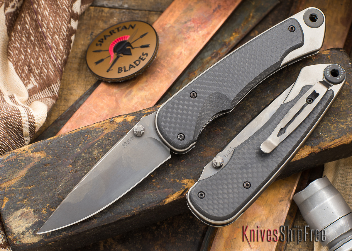 Spartan Blades: Akribis - Meteorite Gray Blade - Carbon Fiber Handles primary image