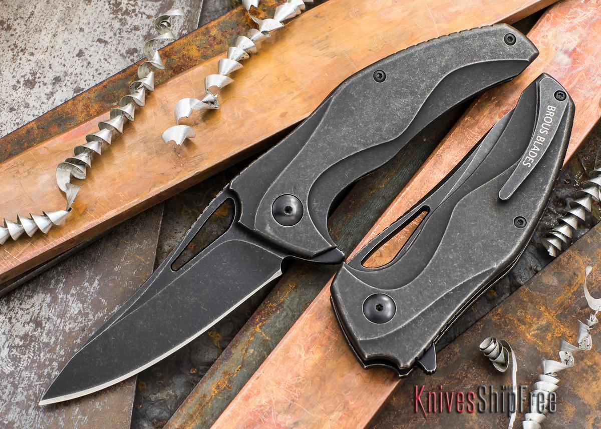 Brous Blades: Exo - Titanium Handles - Full Acid Stonewash Finish primary image