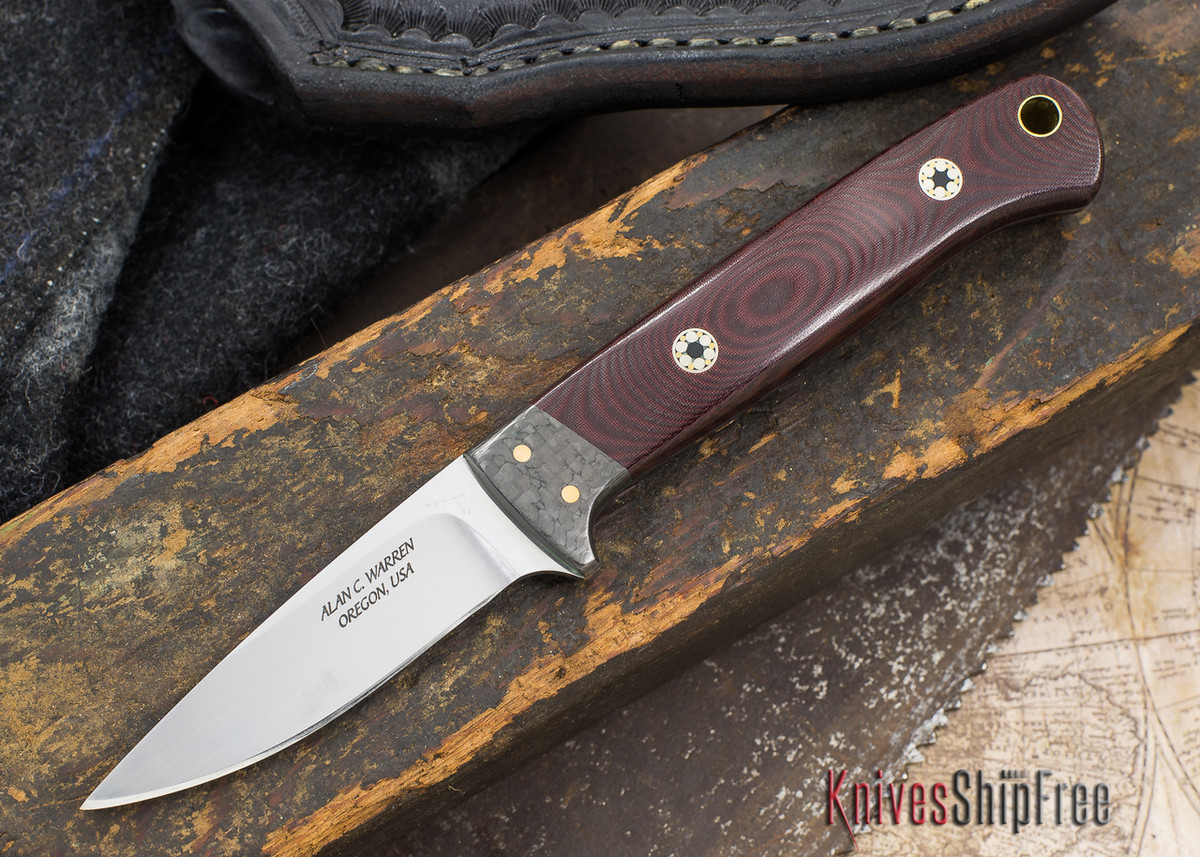 Alan Warren Knives: Custom Neck Knife - Maroon Linen Micarta - Carbon Fiber Bolster - 1972 primary image