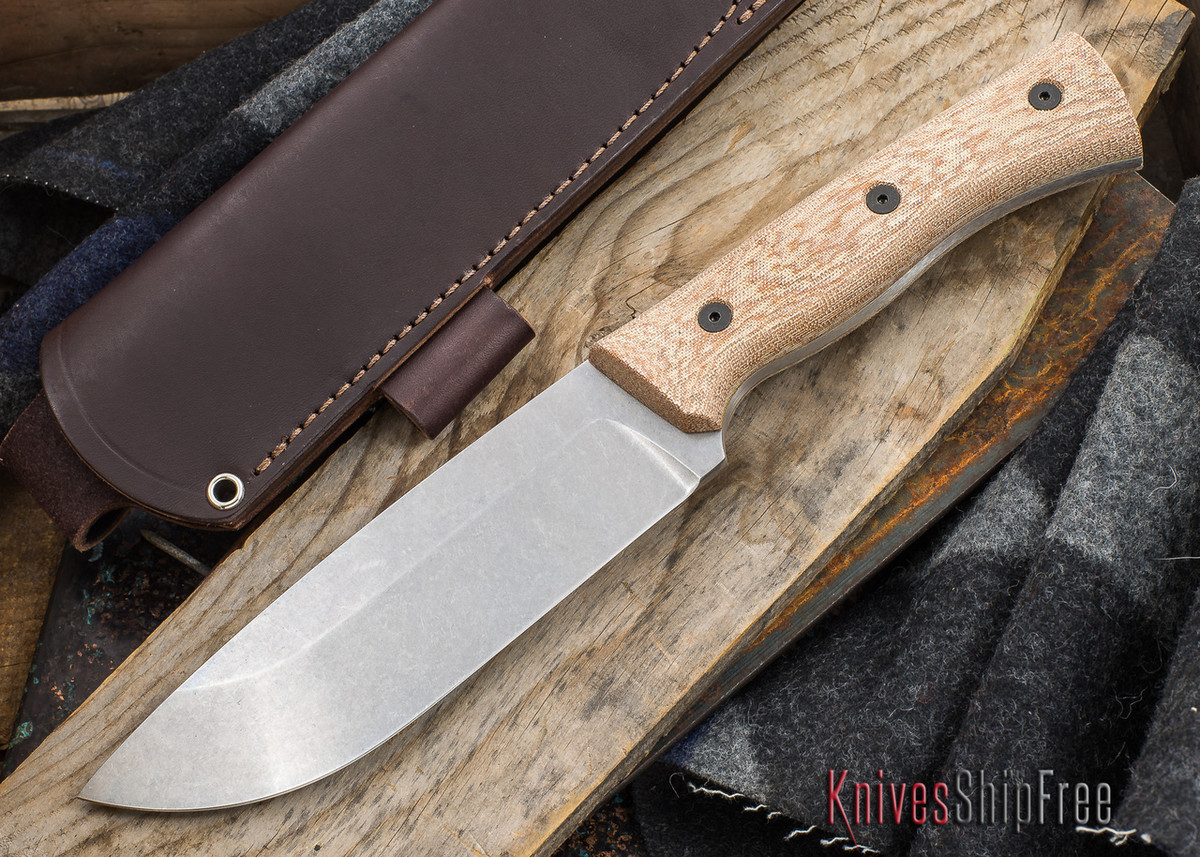 Fiddleback Forge: Production Camp Knife - Natural Canvas Micarta - CPM 3V primary image
