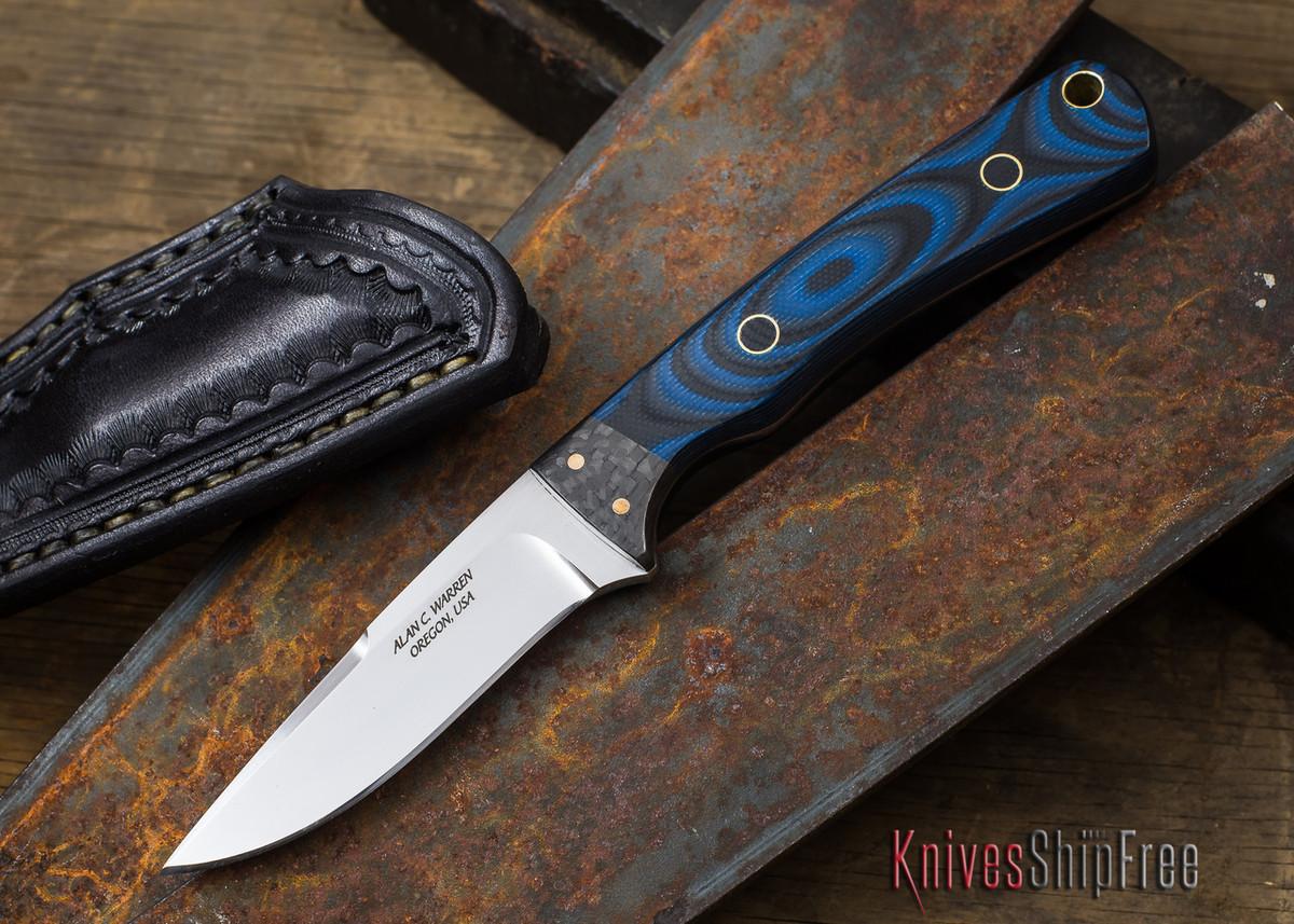 Alan Warren Knives: Neck Knife - Black & Blue G-10 - Carbon Fiber Bolster - #1843 primary image