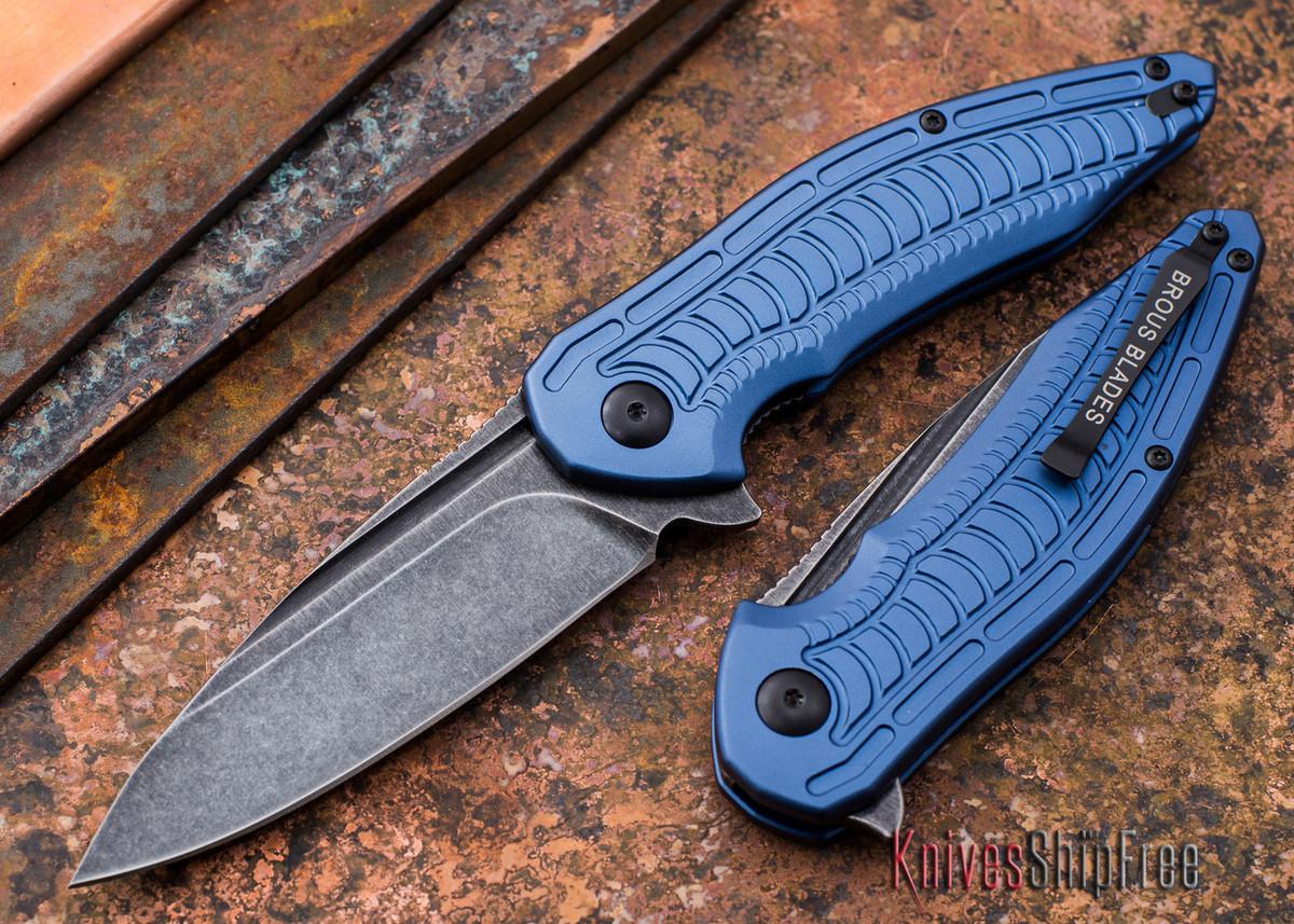 Brous Blades: Bionic XL - Blue Aluminum Handles - Acid Stonewash Finish primary image