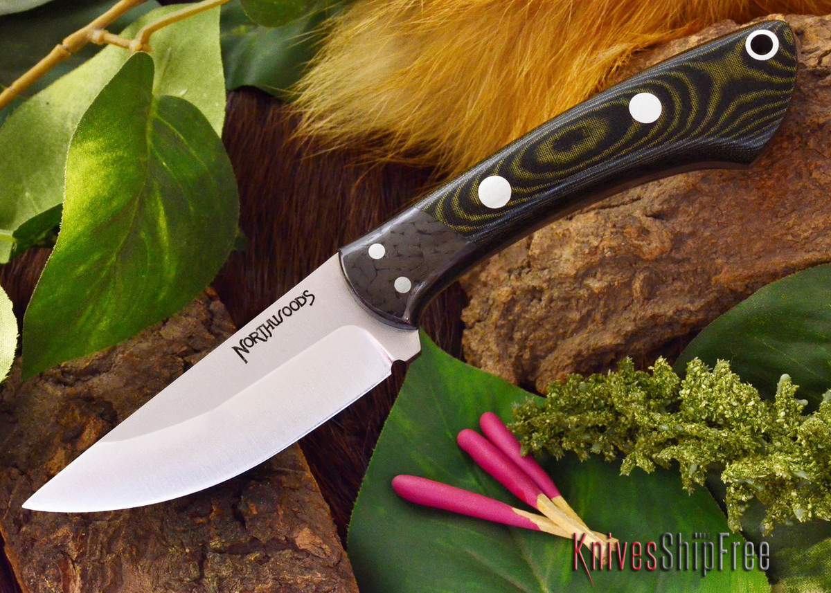 Northwoods Knives: Iron River - Black & Green Linen Micarta primary image