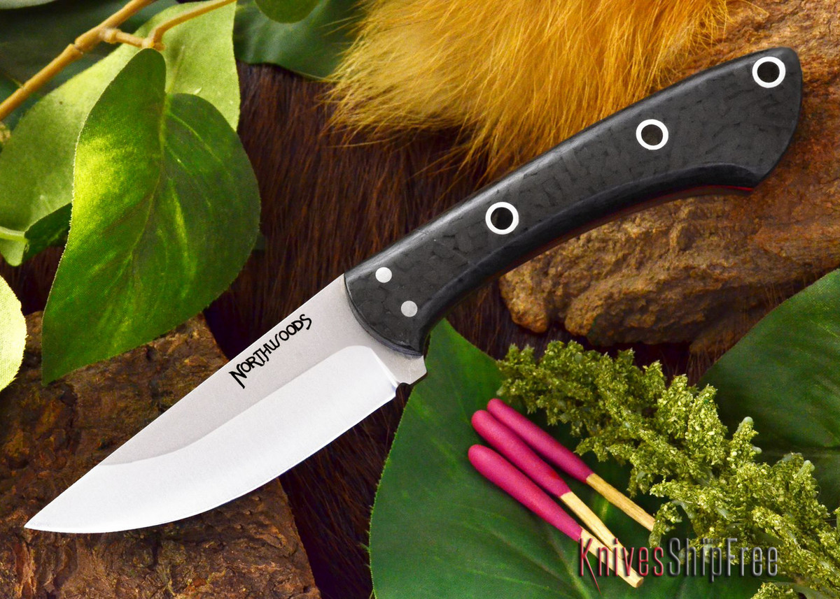 Northwoods Knives: Iron River - Black Carbon Fiber - Red Liner - Hollow Pins primary image