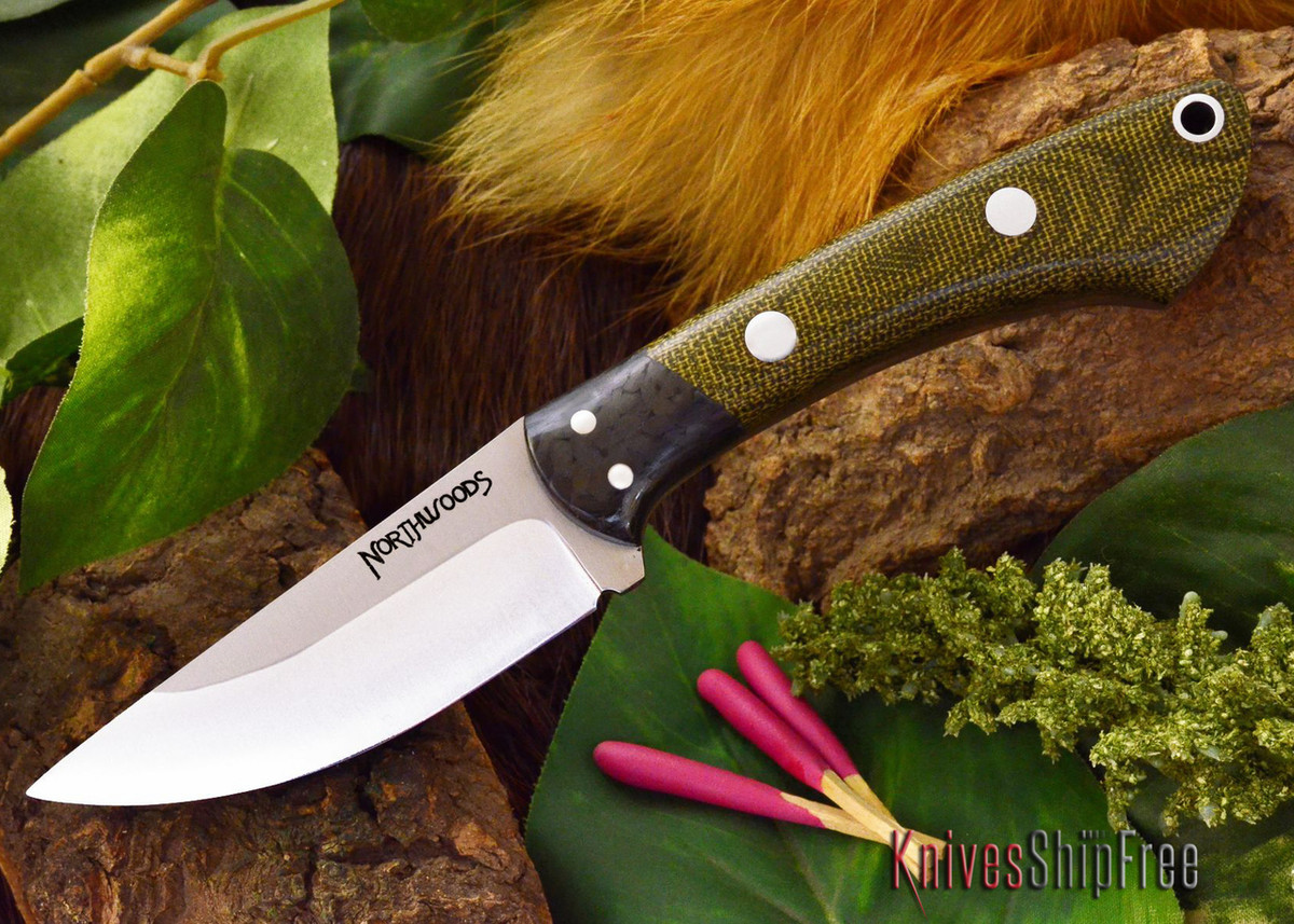 Northwoods Knives: Iron River - Green Canvas Micarta primary image