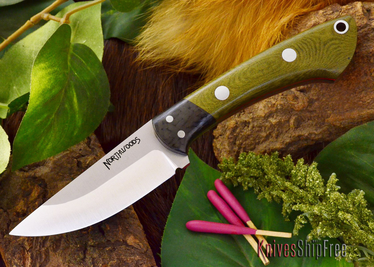 Northwoods Knives: Iron River - Green Linen Micarta - Red Liner primary image