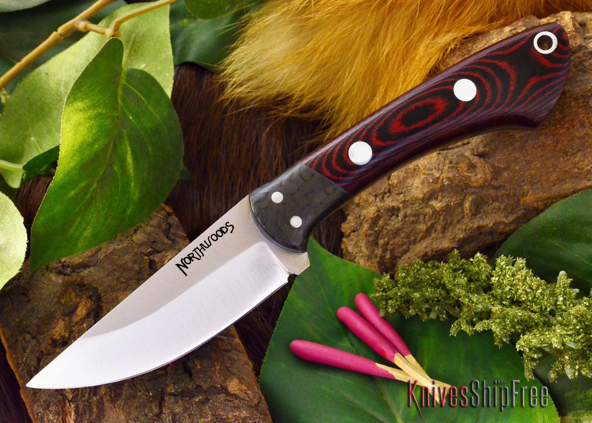 Northwoods Knives: Iron River - Red & Black Linen Micarta primary image