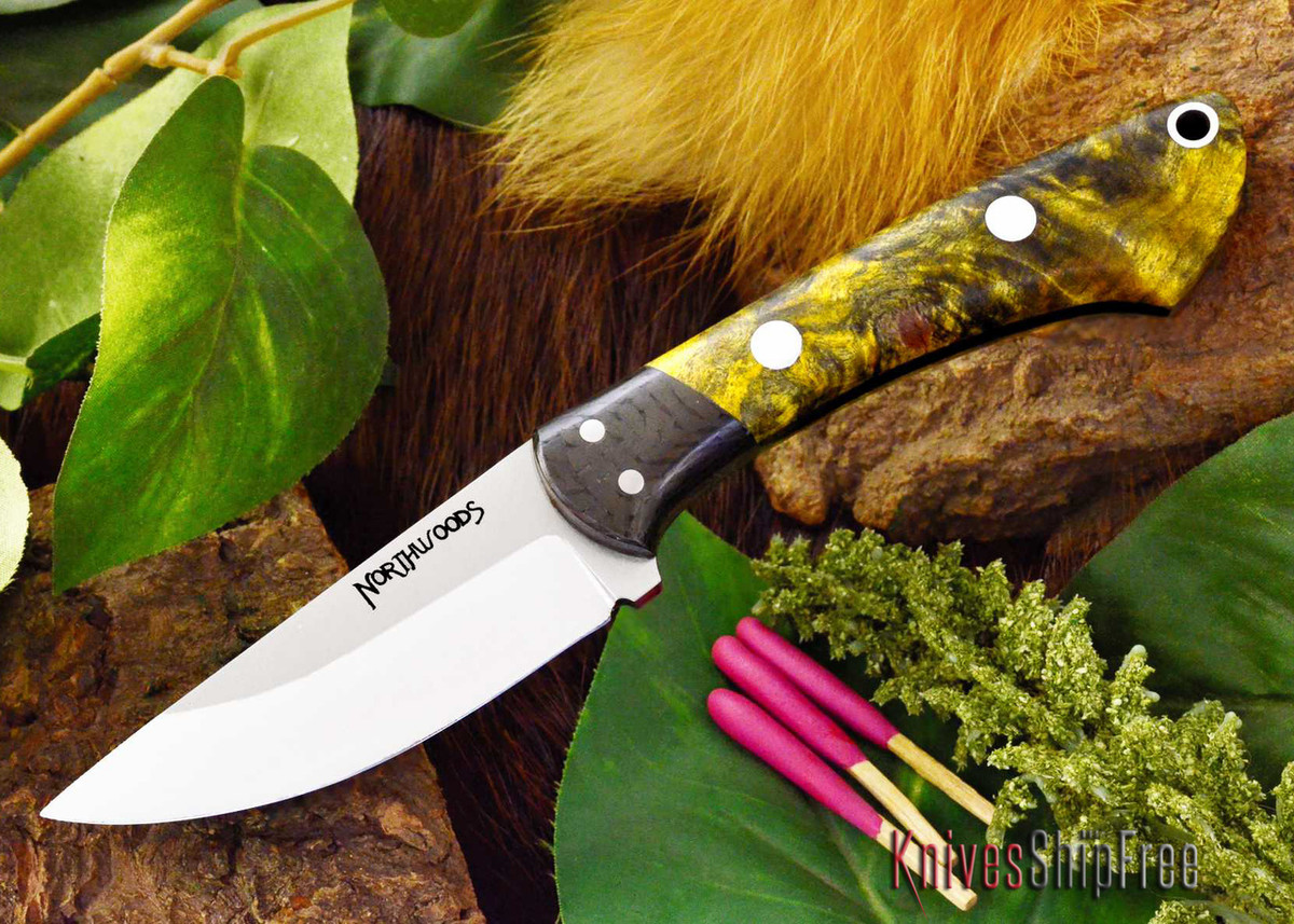Northwoods Knives: Iron River - Yellow Buckeye Burl