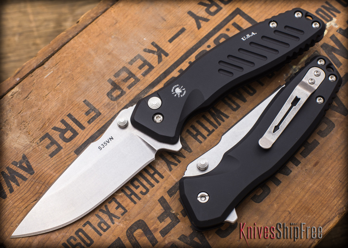 Spartan Blades: Pallas - Stonewashed Finish - Black Anodized Frame primary image