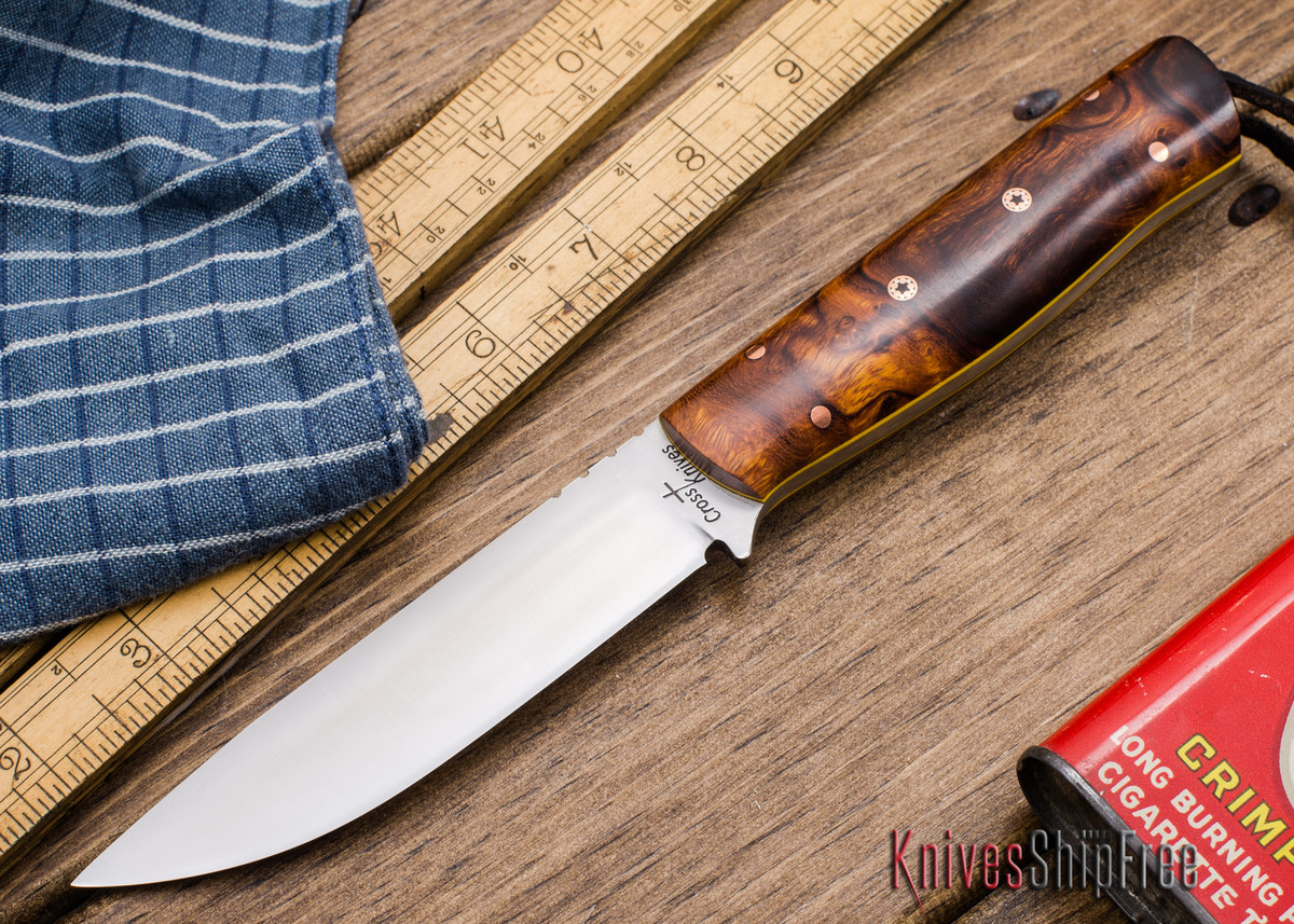 Cross Knives Bushcraft Knife Desert Ironwood Burl Yellow Liners