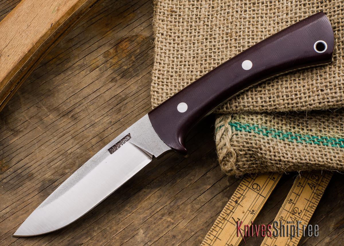 Lon Humphrey Knives: Custom Scout - CPM 154 - Maroon Linen Micarta primary image