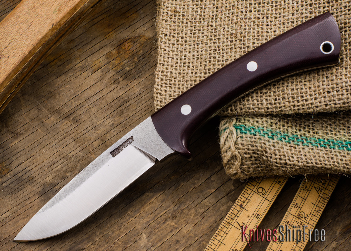 Lon Humphrey Knives: Custom Scout - CPM 154 - Maroon Linen Micarta primary image
