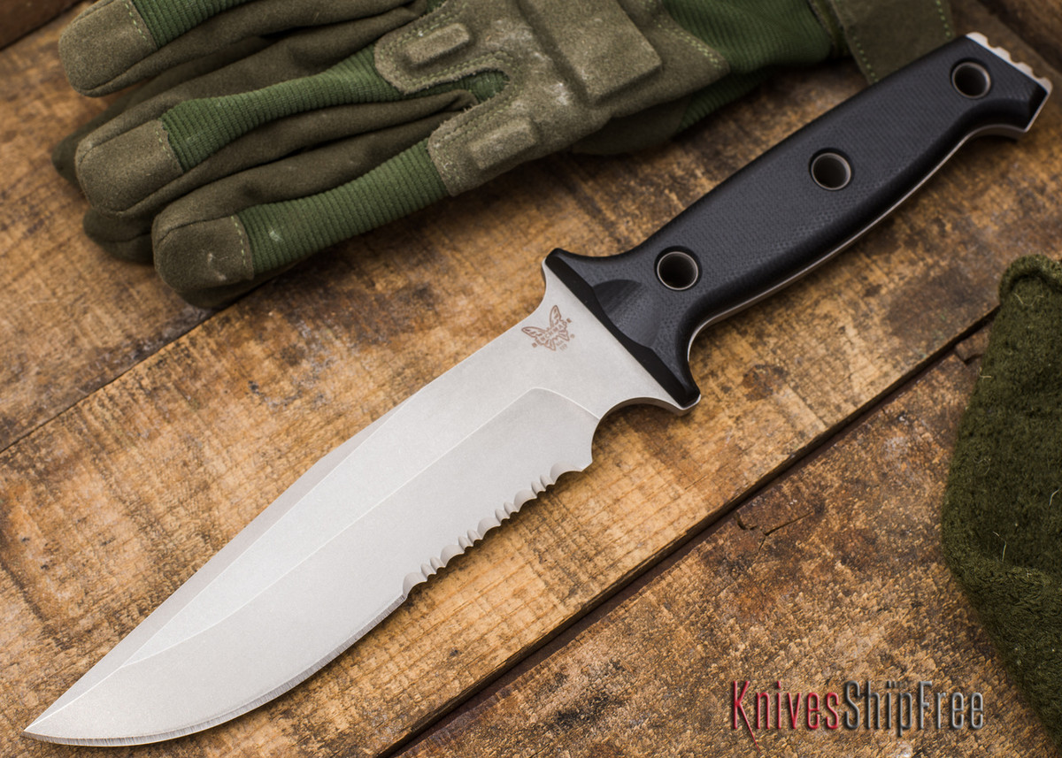 Benchmade Knives: 119S Arvensis - Fixed Blade - Partially Serrated - Black G-10 primary image