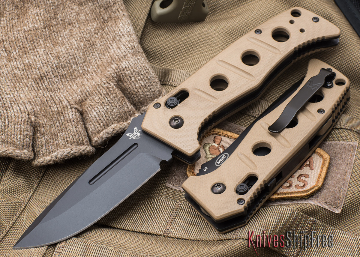 Benchmade Knives: 2750BKSN Adamas Auto - Black Blade - Desert Tan G-10 primary image