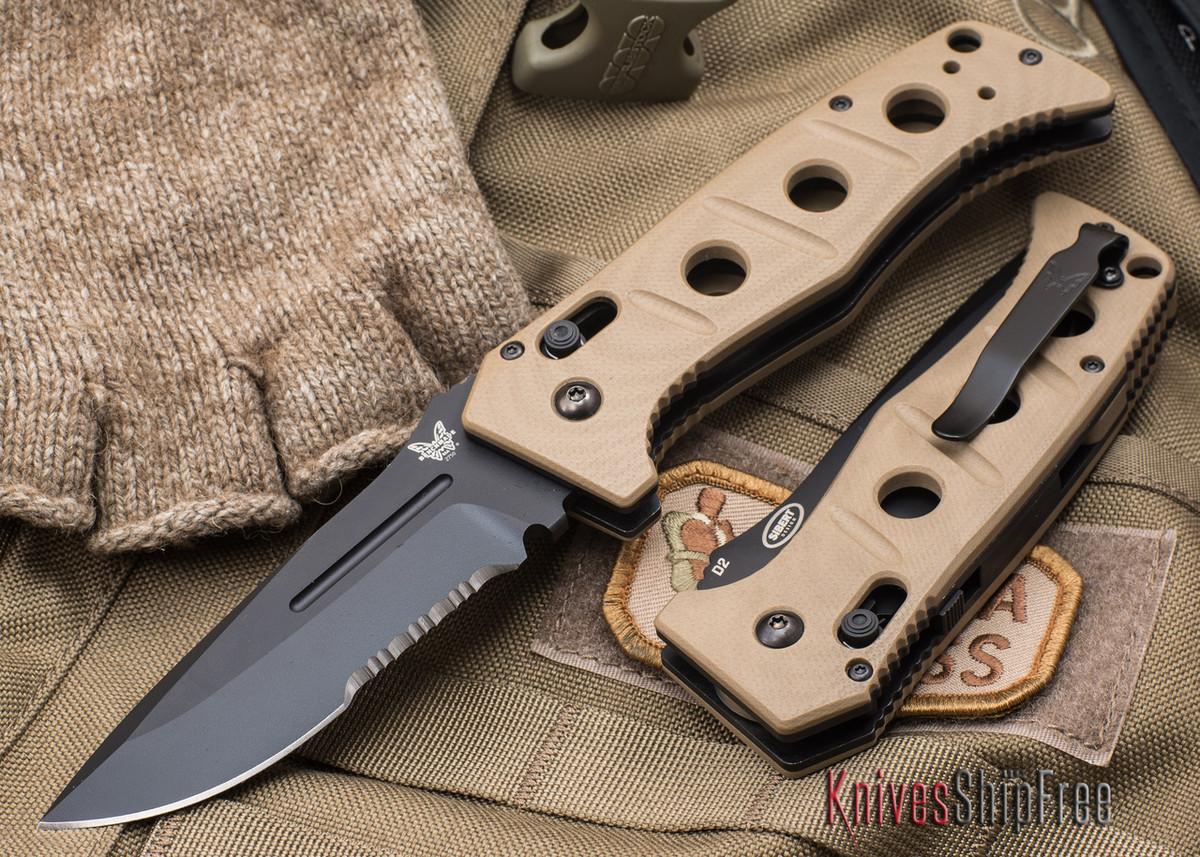 Benchmade Knives: 2750SBKSN Adamas Auto - Serrated Black Blade - Tan G-10 primary image