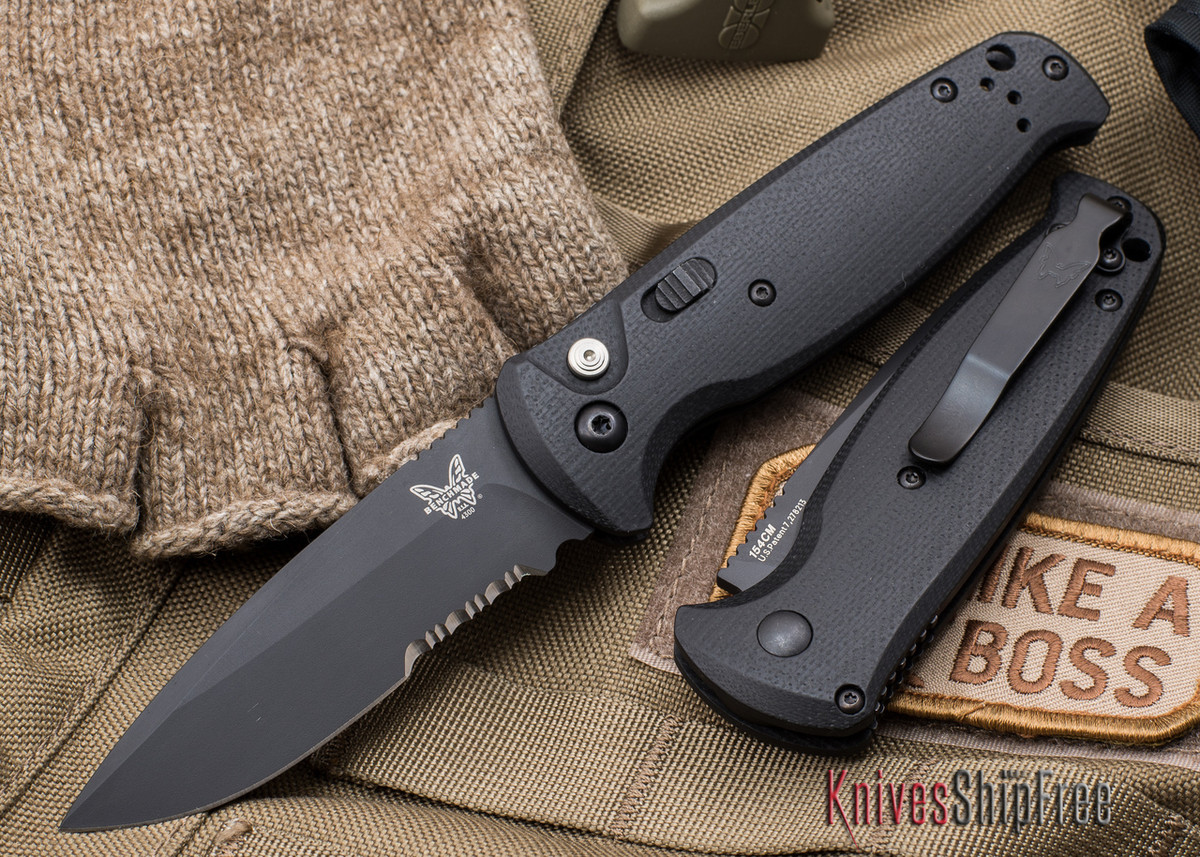 Benchmade Knives: 4300SBK CLA - Auto - Black G-10 - Serrated Black Blade primary image
