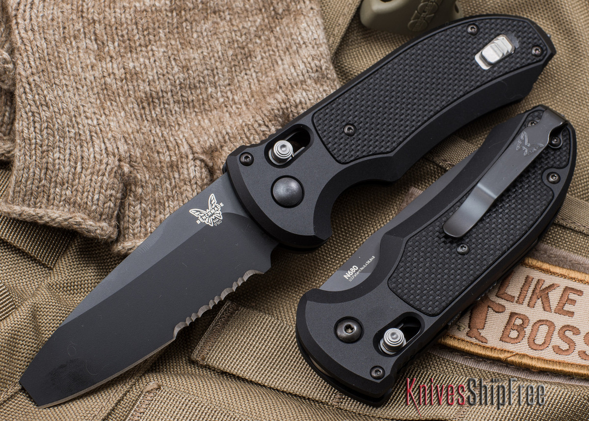 Benchmade Knives: 9160SBK Triage Rescue - Auto AXIS - Serrated Black Blade primary image