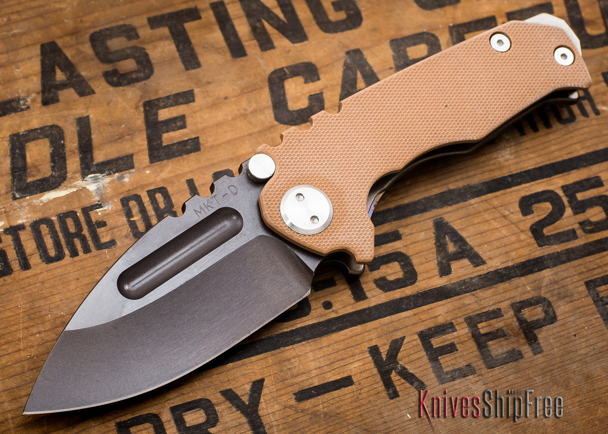 Medford Knife & Tool: Micro Praetorian G - Coyote G-10 / Flamed Ti - Tumbled Oxide Finish - 062902 primary image