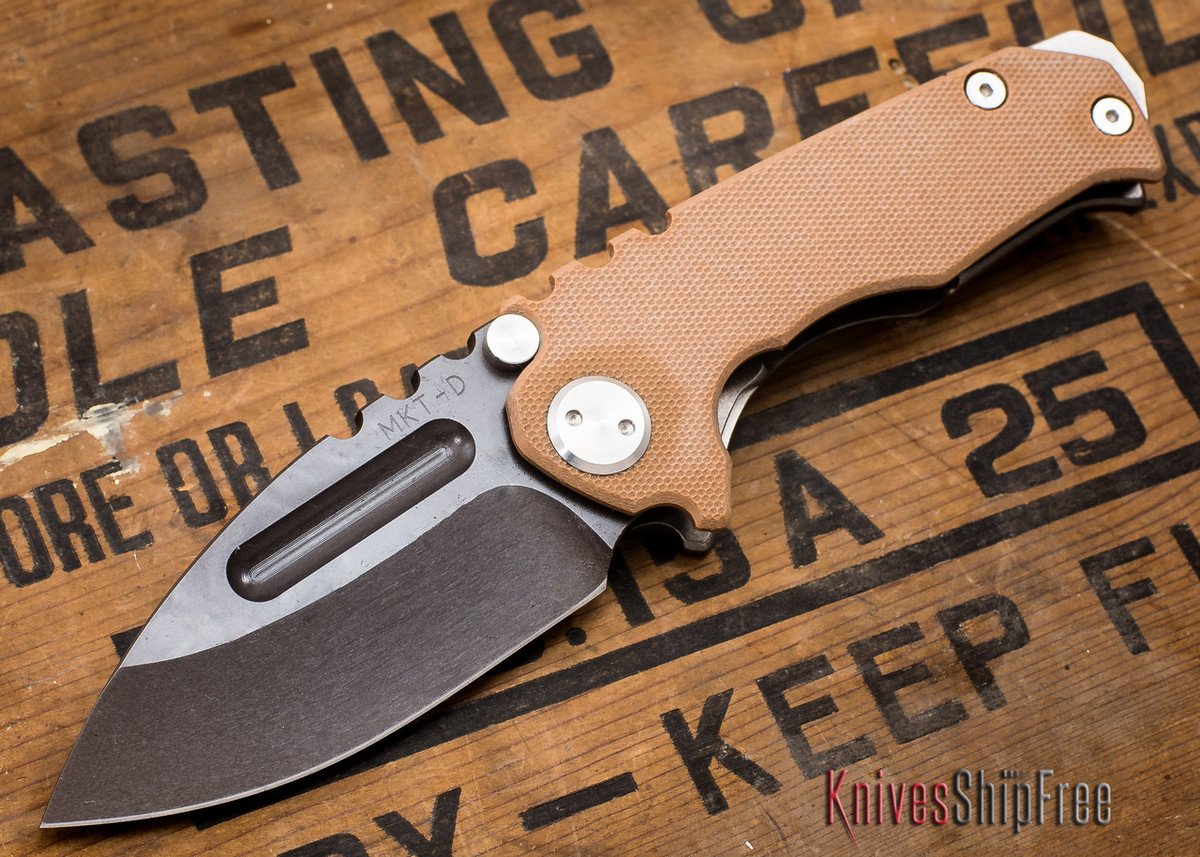 Medford Knife & Tool: Micro Praetorian G - Coyote G-10 / Flamed Ti - Tumbled Oxide Finish - 062907