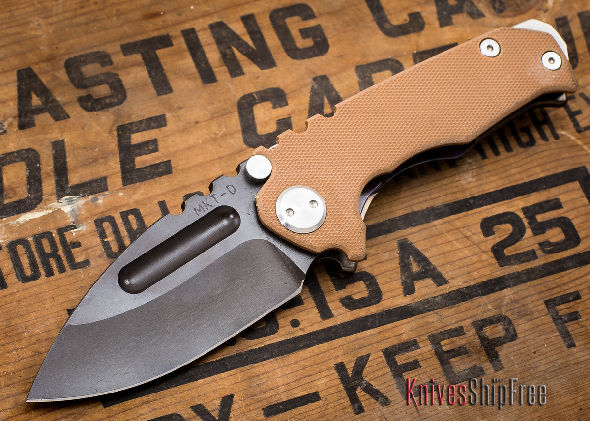 Medford Knife & Tool: Micro Praetorian G - Coyote G-10 / Flamed Ti - Tumbled Oxide Finish - 062908 primary image